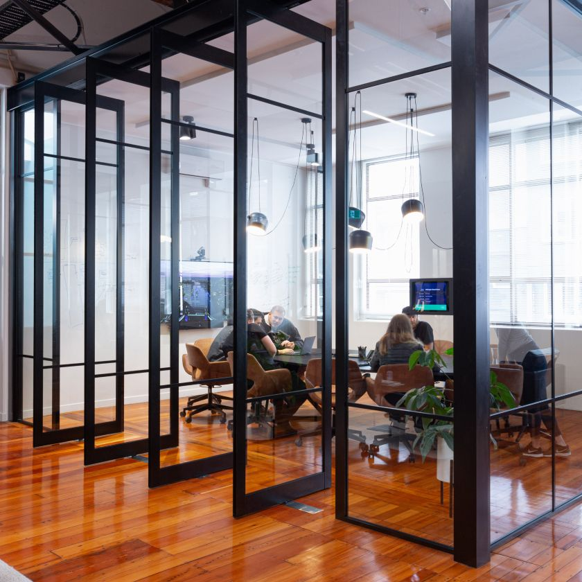 Photo looking in to Catch Design's Wellington boardroom.