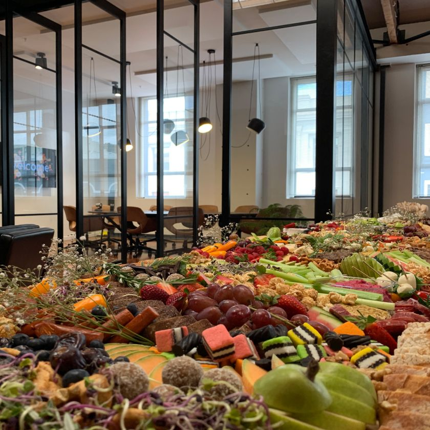 Photo of the grazing table at the Catch Design client Christmas party.